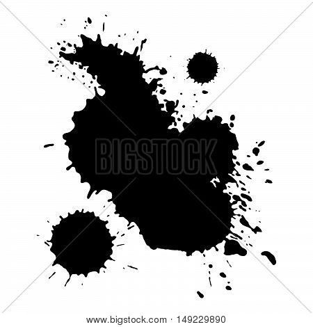 Grunge black splashes blots. Isolated vector paint.
