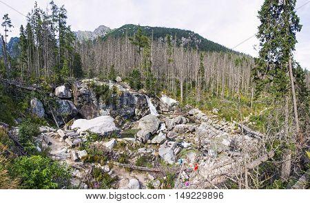 Waterfalls Of Studeny Potok Stream In High Tatras, Slovakia