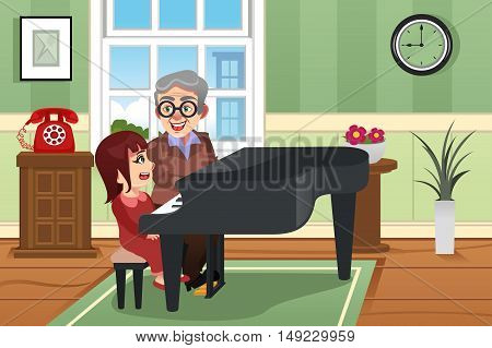 A vector illustration of Grandmother Playing Piano with her Granddaughter