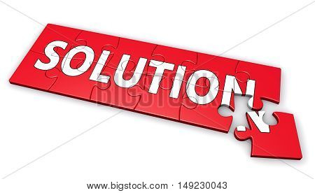 Solution business development concept with sign and word on a puzzle 3D illustration on white background.