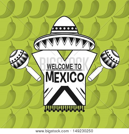 welcome to mexico sign with mexican culture related icons image vector illustration