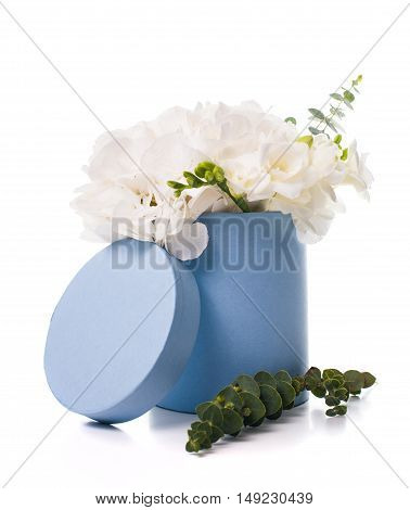 Bouquet of white hydrangeas in round  blue box on white background isolated