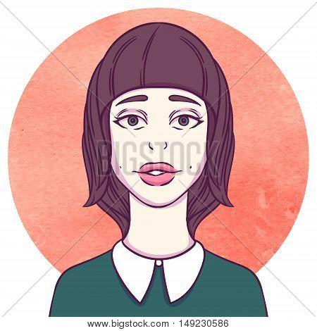 Portrait of young cutie girl on watercolor background. Female avatar. Emotion