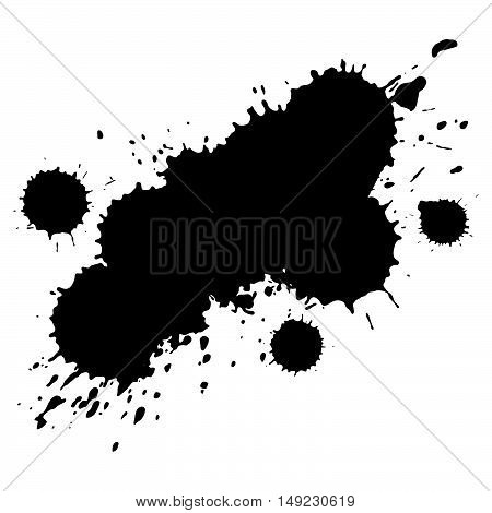 Isolated Vector splash in the form of a brush. Drops of black ink.