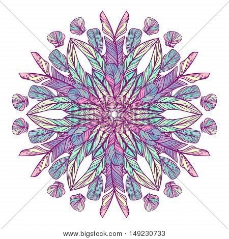 Circle pattern with feathers. Round kaleidoscope of feathers and floral elements