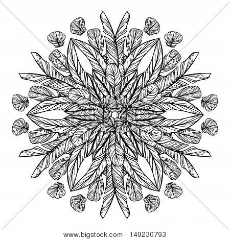 Circle pattern with feathers. Round kaleidoscope of feathers and floral elements. Adult coloring