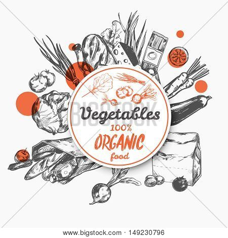 Hand draw sketch label organic food with set of products purchased in store vector illustration