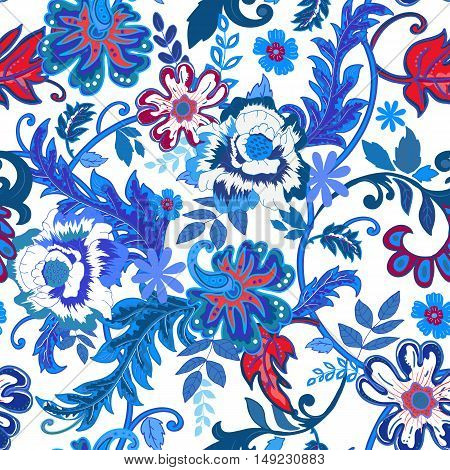 Seamless floral background. Colorful red and blue isolated flowers and leafs on white background. Design for prints, wallpaper, textile. Vector illustration.