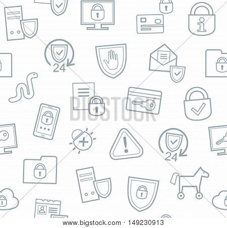 Information protection, seamless background, white, flat. Information technology, data security system. Vector white background with gray, contour drawings.