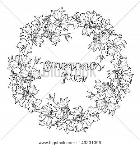 Circle pattern with bellflowers. Round kaleidoscope of flowers and floral elements. Wreath. Design card. Watercolor background