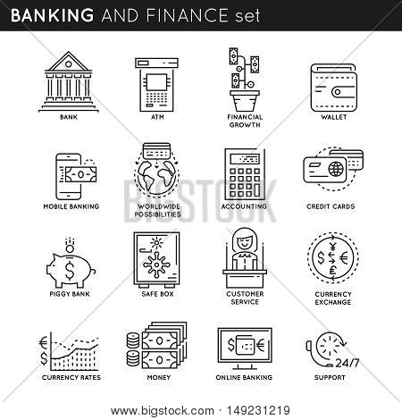 Banking and finance linear icons set with customer service and support credit cards accounting isolated vector illustration