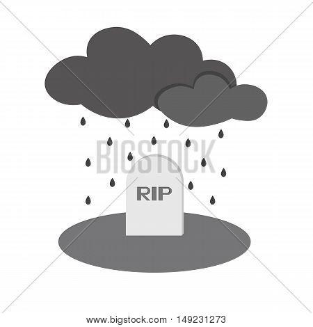 Grave Rip Rain Icon Of Vector Esp 10