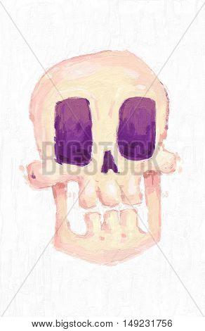 Halloween hand drawn oil painting. Cartoon skull. Oil painting set of happy halloween vintage illustrations on canvas. Color texture.