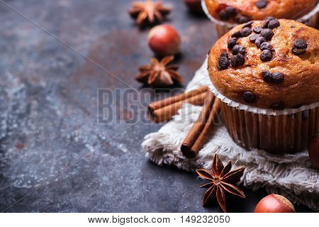 Food and drink, seasonal concept. Homemade chocolate chip muffins with spices for breakfast on a grunge rusty pan. Selective focus, copy space background