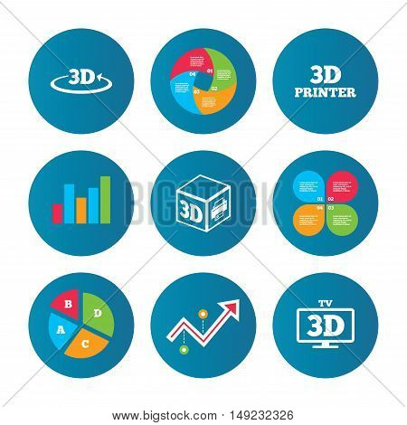Business pie chart. Growth curve. Presentation buttons. 3d technology icons. Printer, rotation arrow sign symbols. Print cube. Data analysis. Vector