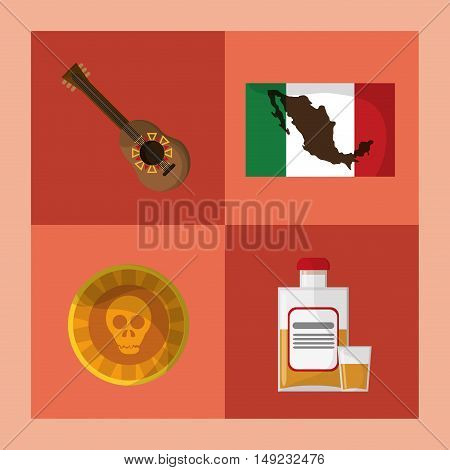 guitarron flag skull and tequila mexican culture related icons image vector illustration