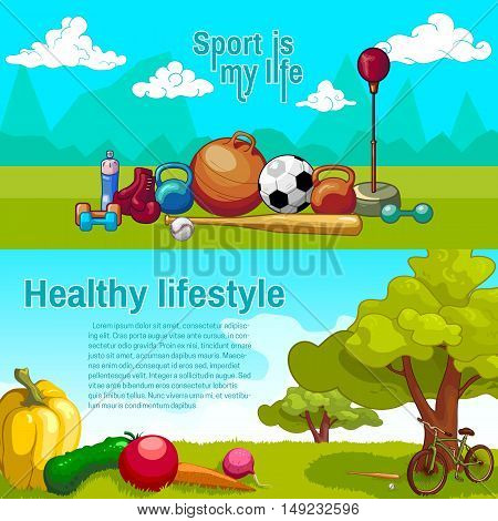 Healthy lifestyle horizontal banners with sports equipment and fresh vegetables on natural scenery backgrounds isolated vector illustration