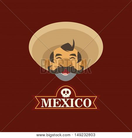 mariachi with mexican culture emblem image vector illustration
