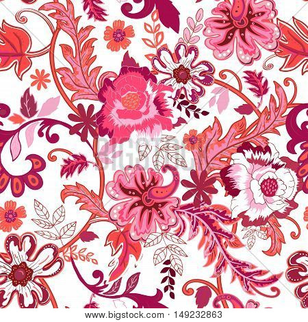 Seamless floral background. Colorful red isolated flowers and leafs on white background. Design for prints, wallpaper, textile. Vector illustration.