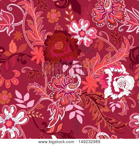 Seamless floral background. Colorful red and white isolated flowers and leafs on red background. Design for prints, wallpaper, textile. Vector illustration.