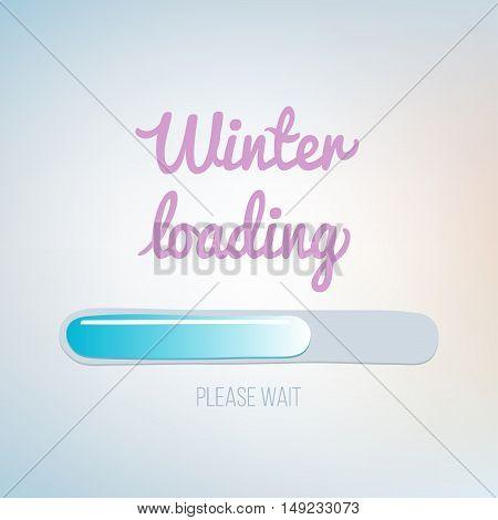 winter loading vector illustration. Hand drawn progress bar design