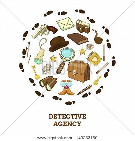 Detective agency round composition with objects for activity hat and smoking pipe of private eye vector illustration
