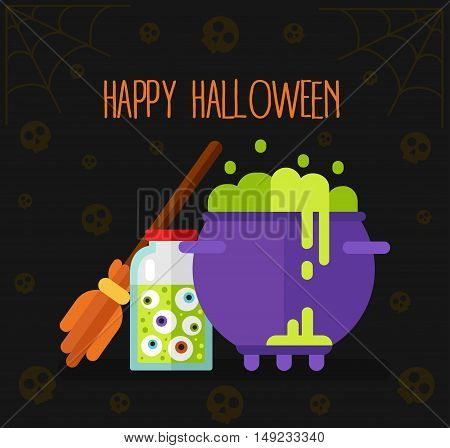 Flat design vector illustration with witch's broom, bottle with eyes, pot with boiling magic fairy potion, skulls and spider's web. Happy Halloween gift card or banner.