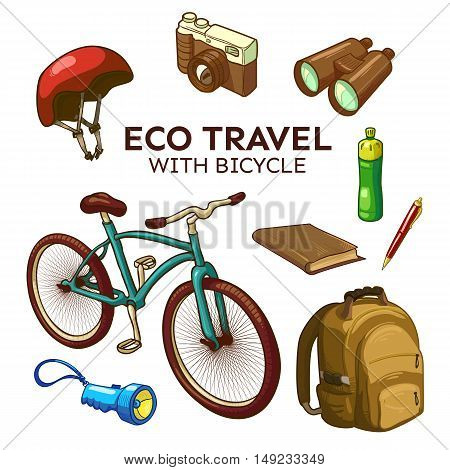Eco bicycle travel elements set including camera and binoculars backpack flashlight notebook and pen isolated vector illustration