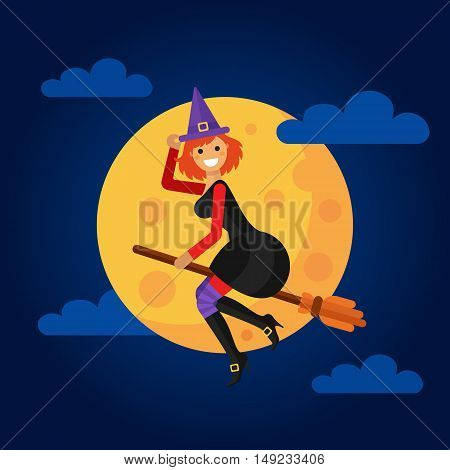 Flat design vector illustration of beautiful smiling witch flying on the broom in front of a full yellow moon. Including night sky, clouds, hat, boots, stockings. Halloween gift card or banner.