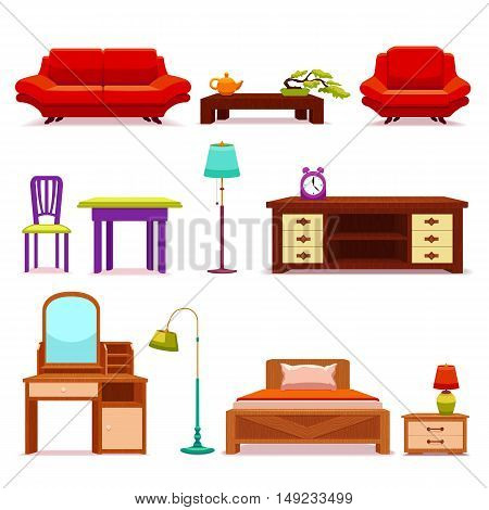 Hotel furniture set with sofa and coffee table vanity and wooden bed floor lamps isolated vector illustration