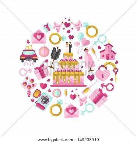 Flat design vector illustration of wedding or marriage. Big cake with bride and groom, invitation, bridal bouquet, rings, champagne, clothes, gift, lock and key, birds, car, air balloon, camera.