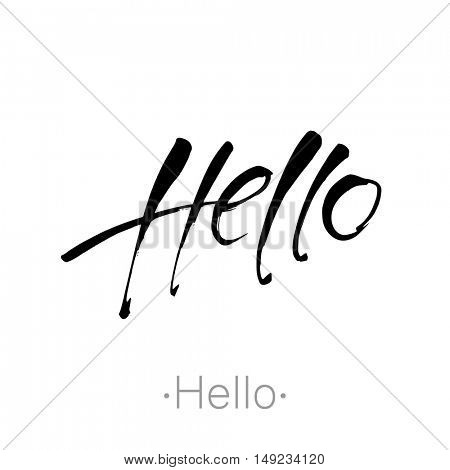 Hello hand drawn lettering. Black Calligraphy Inscription. Vector Illustration - for greeting card.