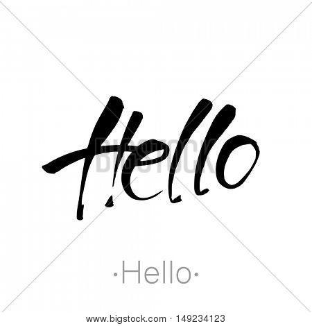 Hello - handwritten vector Illustration.