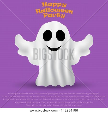 Ghost Halloween party in a white sheet. bringing flies, vector illustration
