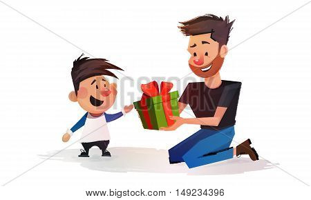Father gives his son a gift box