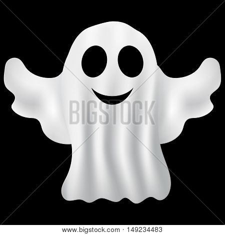Ghost Halloween party in a white sheet on a black background. bringing summer, vector illustration