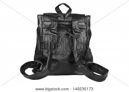 luxury back leather black bag with single zipper and sling for women on white isolated included clipping path