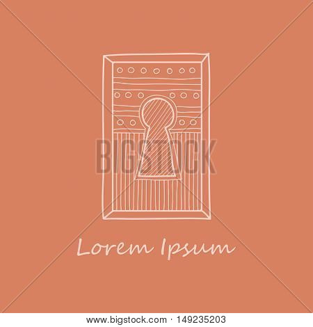 Сute hand drawn ornamental keyhole. Vector. Doodle style