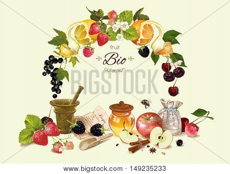 Vector fruit and berry cosmetic composition with fruit wreath . Design for natural cosmetics, health care products, aromatherapy, homeopathy, recipe book. With place for text