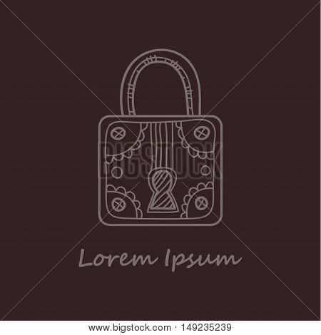 Cute hand drawn ornate padlock. Vector. Doodle style