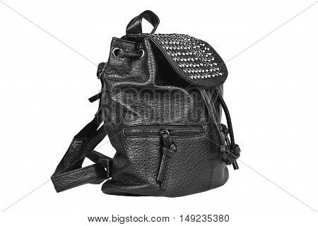 luxury leather black bag side view with diamond studs and dual zipper for women on white isolated included clipping path