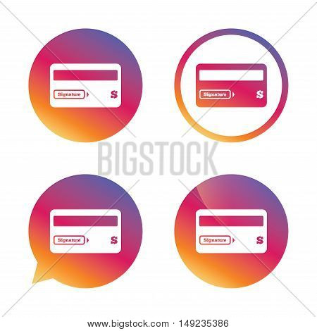 Credit card sign icon. Debit card symbol. Virtual money. Gradient buttons with flat icon. Speech bubble sign. Vector