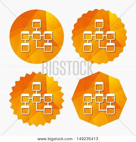 Database sign icon. Relational database schema symbol. Triangular low poly buttons with flat icon. Vector