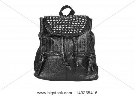 luxury leather black bag with diamond studs and dual zipper for women on white isolated included clipping path