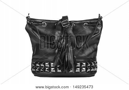 luxury leather black bag with diamond studs, fringe and sling strap for women on white isolated included clipping path