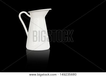 white milk jug and reflection shadow on left side and black background isolated included clipping path on jug body only