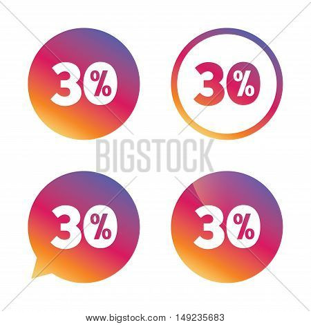30 percent discount sign icon. Sale symbol. Special offer label. Gradient buttons with flat icon. Speech bubble sign. Vector