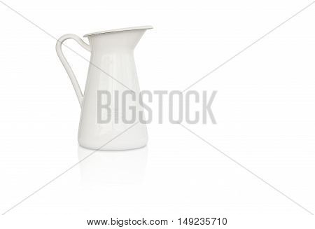white milk jug and reflection shadow on left side and white background isolated included clipping path on jug body only
