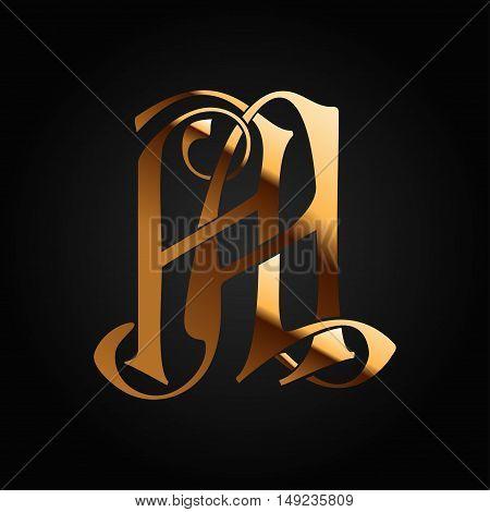 Vintage Monogram AA. Gold metal letters on black background