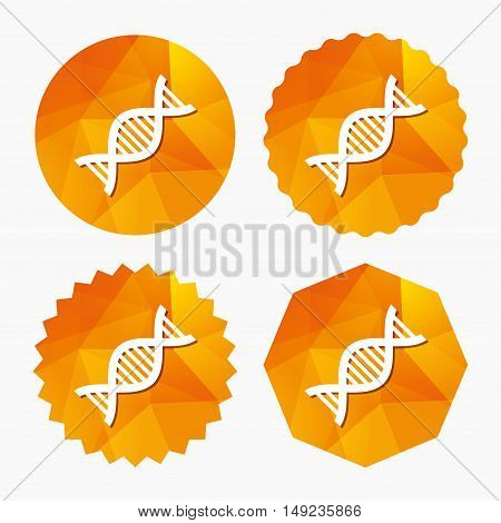 DNA sign icon. Deoxyribonucleic acid symbol. Triangular low poly buttons with flat icon. Vector